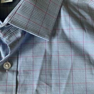 Old Navy Shirts - Old Navy Long Sleeve Blue Checked Button Up NWOT